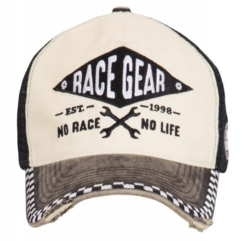 King Kerosin Snapback Cap No Race No Life Schildkappe Vintage Creme,
