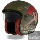 Premier Jethelm Vintage Pin Up Military Motorradhelm...