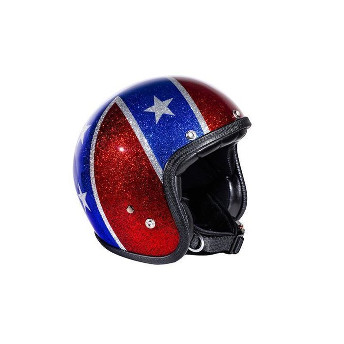 M  57-59cm 70´s Superflake Rebel Flag Seventies Jethelm Helm ECE 22.05