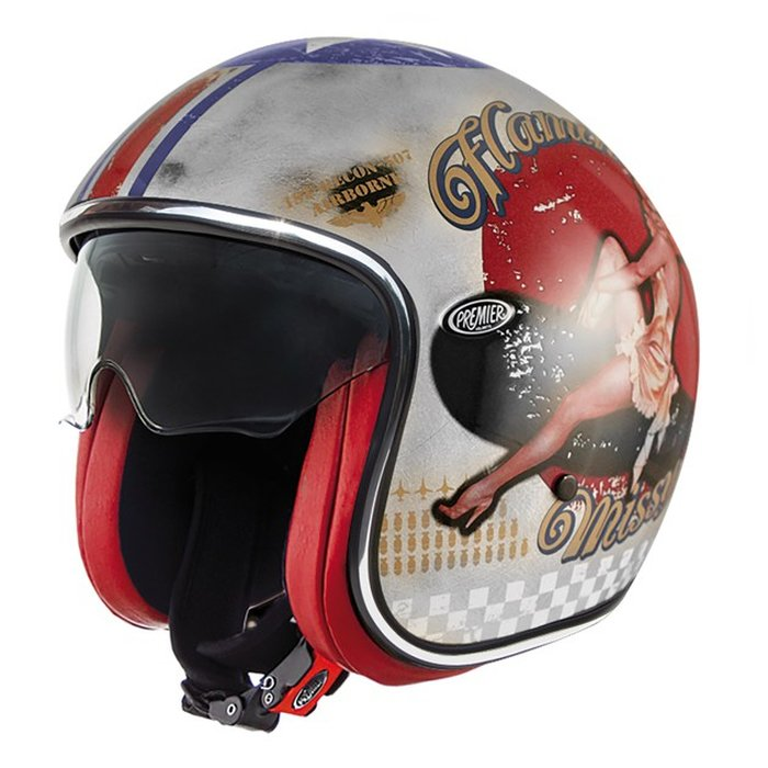 S 55-56 cm Premier Jethelm Vintage Pin Up Old Style silver Motorradhelm silber