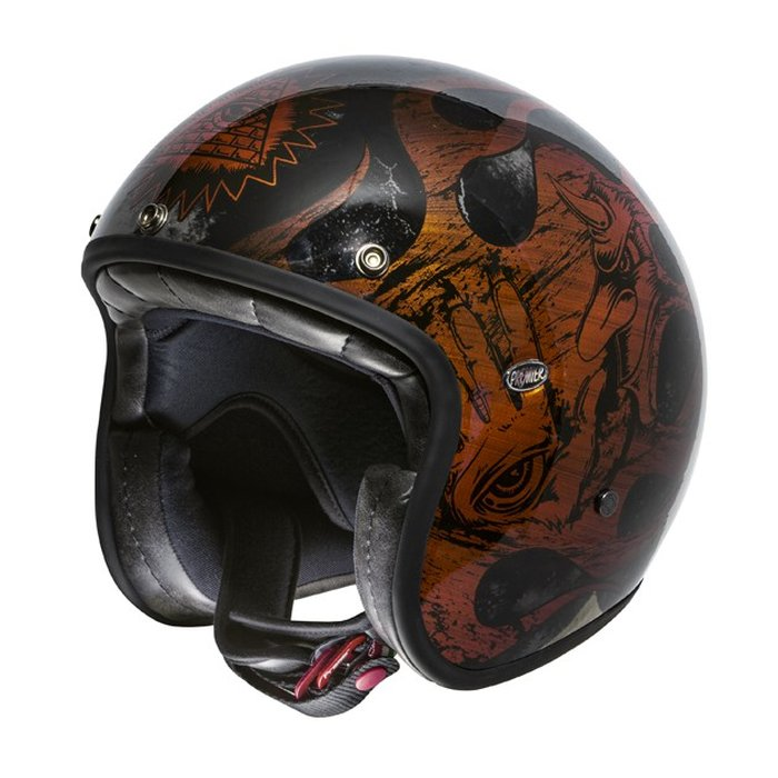 L 59-60cm Premier Helm Le Petit BD Orange Chromed Jethelm ECE