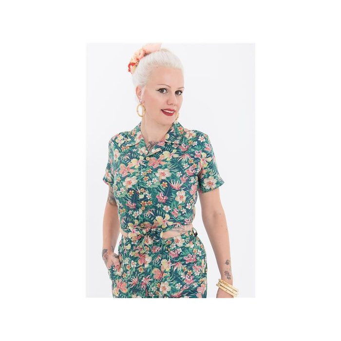 Queen Kerosin Damen Bluse Tropical L