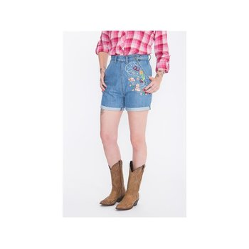 Queen Kerosin Damen Shorts Western Denim Light Blue