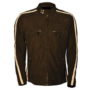 Rusty Stitches Leather Jacket Billy Nubuck Brown